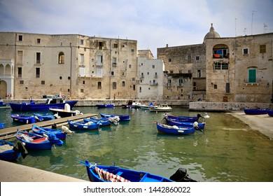 Monopoli, Italy-September 11, 2015: Old fishing port in Monopoli, Puglia.