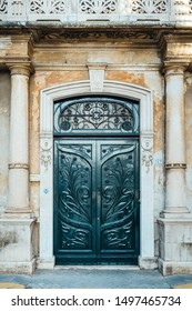 Monopoli, Puglia Italy - 22 August 2019: door decorated in Liberty style