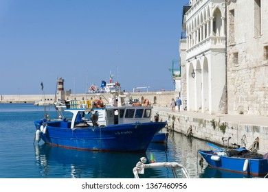 MONOPOLI PUGLIA ITALY ON JULY 2018:   Old fishing port with fishing boats on July 12, 2018