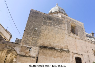 MONOPOLI PUGLIA ITALY ON JULY 2018:   Monopoli in Puglia Italy on July 12, 2018. Church of SS. Pietro and Paolo.