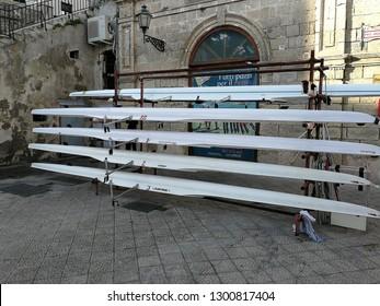 Monopoli, Puglia, Italy - September 8, 2018: Canoe rack at the Cala Batter dock