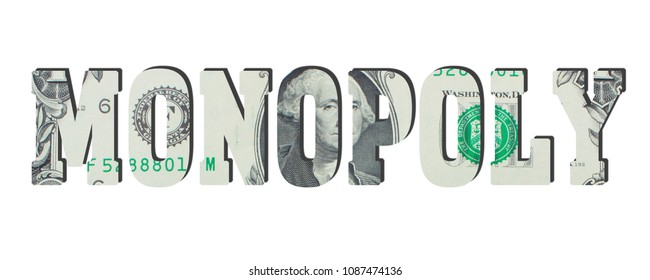 monopoly. American dollar banknotes. Money texture. Isolated on white background