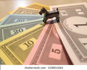 Monopoly dog on lots of money