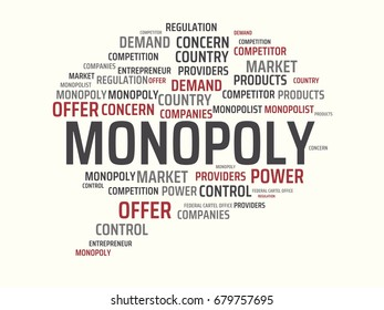 - MONOPOLY - image with words associated with the topic MONOPOLY, word cloud, cube, letter, image, illustration