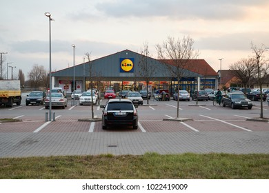 MONOR, HUNGARY - November 29, 2017: Lidl supermarket viewed from the parking lot. Lidl is a German supermarket chain operating more than 10000 stores across Europe and USA