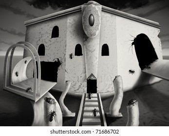 monotone digital painting of a surreal optical art facade, busy with ants