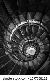 Monotone image of the spiral staircase,  Spiral stairs inside Arc de triomphe in Paris France in art of travel and architecture background
