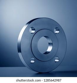 Monotone metal flange circle picture, studio shot, blue tone