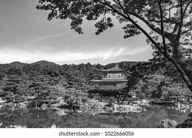 (monotone)Beautiful architecture at Kinkaku-ji (Temple of the Golden Pavilion), officially named Rokuon-ji (Deer Garden Temple), a Zen Buddhist temple in Kyoto, Japan.
