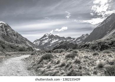 (monotone)New Zealand Mount Cook. Hooker valley track.