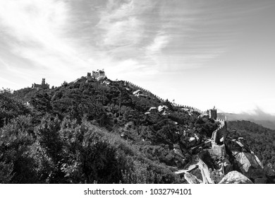 (monotone)The Castle of the Moors is a hilltop medieval castle in Sintra, Portugal