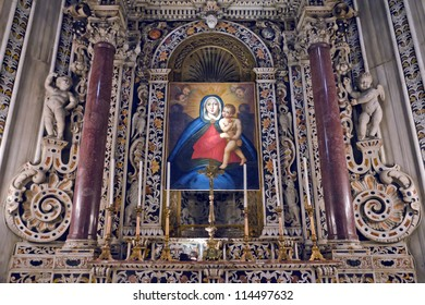 MONREALE, ITALY - CIRCA APRIL 2012: The interior of the Cathedral of Monreale circa April 2012. The Cathedral of Monreale is located in Monreale, Sicily. It is famous by mosaic of Christ Pantocrator.