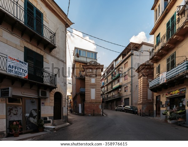 MONREALE, ITALY - JANUARY 05 2016: Outdoor City Shot of the mediterranean city of Monreale on Sicily in Italy, Europe on a warm and sunny Winter Day