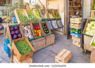 Monreale, Sicily, Europe-10/06 / 2018.Front of a fruit and vegetable shop in the town of Mondello, north west of Palermo in Sicily