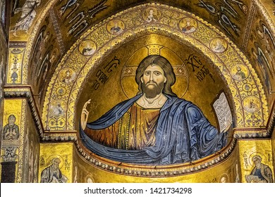 MONREALE, SICILY, ITALY - SEPTEMBER 28, 2018: Interior of Roman Catholic Cathedral of Monreale (or Duomo di Monreale, 1267) near Palermo; one of the greatest extant examples of Norman architecture.