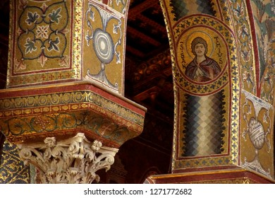 MONREALE, SICILY - NOV 28, 2018 -MONREALE, SICILY - NOV 28, 218 - Inlaid  mosaics on  columns of Cathredral Monreale, Sicily, Italy of Cathredral Monreale, Sicily, Italy