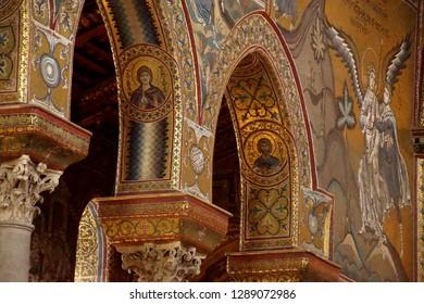 MONREALE, SICILY - NOV 28, 2018 -MONREALE, SICILY - NOV 28, - Inlaid  mosaics on  columns of Cathredral Monreale, Sicily, Italy of Cathredral Monreale, Sicily, Italy