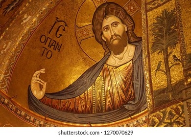 MONREALE, SICILY - NOV 28, 218 - Mosaic of Christ Pantocrator over the main altar of Cathredral Monreale, Palermo, Sicily, Italy
