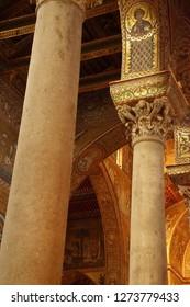 MONREALE, SICILY - NOV 28, 218 -MONREALE, SICILY - NOV 28, 218 - Inlaid  mosaics on  columns of Cathredral Monreale, Sicily, Italyof Cathredral Monreale, Sicily, Italy
