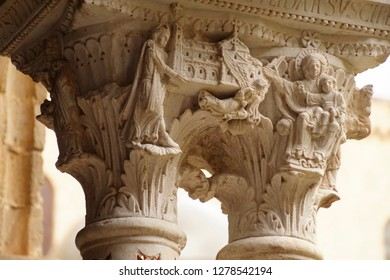 MONREALE, SICILY - NOV 28, 218 - Intricate corinthian capitals in the cloisters of Cathredral Monreale, Sicily, Italy