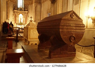 MONREALE, SICILY - NOV 28, 218 - Tomb of William I of Sicily, a porphyry sarcophagus , Cathredral Monreale, Palermo, Sicily, Italy