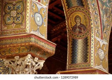 MONREALE, SICILY - NOV 28, 218 -MONREALE, SICILY - NOV 28, - Inlaid  mosaics on  columns of Cathredral Monreale, Sicily, Italy of Cathredral Monreale, Sicily, Italy