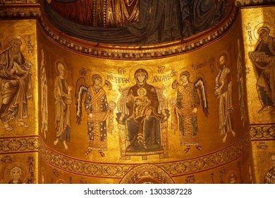 MONREALE, SICILY - NOV 28, 218 - Madonna and child with the 4 evangelists, mosaic in Cathredral Monreale, Palermo, Sicily, Italy