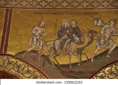 MONREALE, SICILY - NOV 28, 218 - Mosaics showing story of ther flight to Egypt by the Holy Family, Cathredral Monreale, Palermo, Sicily, Italy