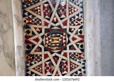 MONREALE, SICILY - NOV 28, 218 - Detail of inlaid marble Islamic patterns on walls of the  Cathredral Monreale, Sicily, Italy