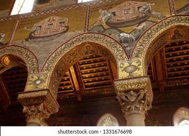 MONREALE, SICILY - NOV 28, 218 - Mosaics showing story of Noah's Ark, Cathredral Monreale, Sicily, Italy