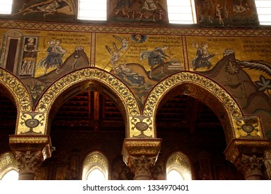 MONREALE, SICILY - NOV 28, 218 - Mosaics showing Bible story of Jacob's ladder dream, Cathredral Monreale, Palermo, Sicily, Italy
