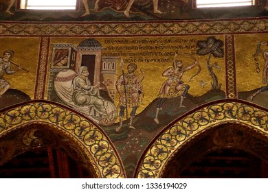 MONREALE, SICILY - NOV 28, 218 - Mosaics showing Bible story Isaac's deception of Jacob, Cathredral Monreale, Palermo, Sicily, Italy
