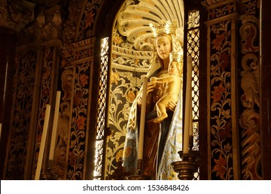 MONREALE, SICILY - NOV 28, 218 - Chapel of Madonna and child in the Cathredral Monreale, Palermo, Sicily, Italy