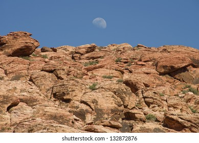 Monrise over Red Rock Canyon, Nevada