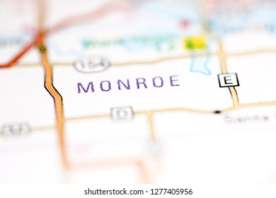 Monroe. Missouri. USA on a geography map
