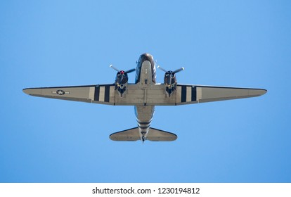 MONROE, NC (USA) - November 10, 2018: The underside of a C-47 cargo aircraft in flight at the Warbirds Over Monroe Air Show.