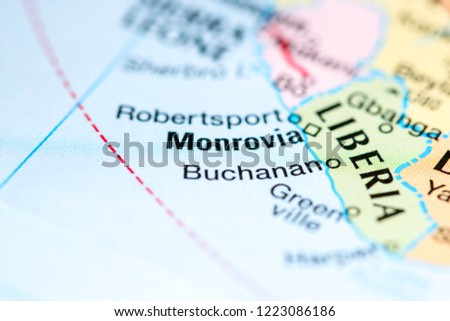 Monrovia Africa On Map Stock Photo Edit Now 1223086186 Shutterstock