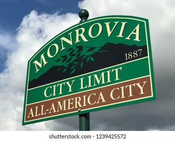 Monrovia, California, USA. November 22, 2018. Sign when entering the city of Monrovia California.