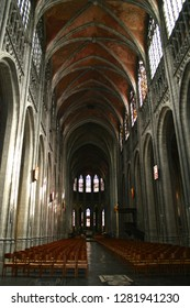 MONS, BELGIUM - Aug 4, 2012: The Saint Waltrude Collegiate Church (Collegiale Sainte-Waudru), a major Bravantine Gothic landmark and most important church in the Belgian city of Mons