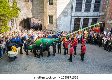 MONS, BELGIUM - JUNE 14, 2014: Waltrude Shrine Procession within The Ducasse de Mons (Doudou) celebrations, recognized as one of the Masterpieces of the Oral and Intangible Heritage of Humanity.