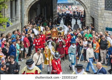 MONS, BELGIUM - JUNE 14, 2014: Waltrude's Shrine Procession within The Ducasse de Mons (Doudou) celebrations, recognized as one of the Masterpieces of the Oral and Intangible Heritage of Humanity.