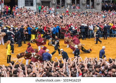 MONS, BELGIUM - JUNE 15, 2014: Combat of Saint George (Lumecon) within The Ducasse de Mons (Doudou) celebrations, recognized as one of the Masterpieces of the Oral and Intangible Heritage of Humanity.