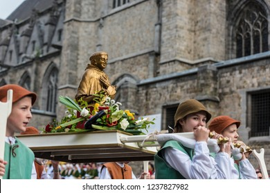 MONS, BELGIUM - JUNE 15, 2014: Waltrude's Shrine Procession within The Ducasse de Mons (Doudou) celebrations, recognized as one of the Masterpieces of the Oral and Intangible Heritage of Humanity.