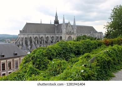 Mons, Belgium. The Saint Waltrude Collegiate Church (Collegiale Sainte-Waudru), a major Bravantine Gothic landmark and most important church in the Belgian city of Mons