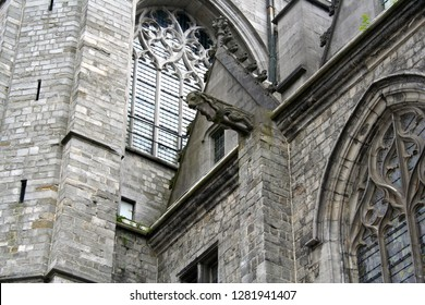 Mons, Belgium. The Saint Waltrude Collegiate Church (Collegiale Sainte-Waudru), a major Bravantine Gothic landmark and most important church in the Belgian city of Mons