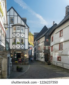 MONSCHAU, AACHEN, GERMANY, OCTOBER 2018 - Picturesque timber framed buildings in the historic center of Monschau, Aachen, Germany