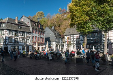 MONSCHAU, AACHEN, GERMANY, OCTOBER 2018 - Picturesque buildings in the market square in the historic center of Monschau, Aachen, Germany