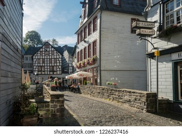 MONSCHAU, AACHEN, GERMANY, OCTOBER 2018 - Picturesque timber framed houses in the historic center of Monschau, Aachen, Germany
