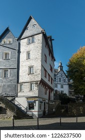 MONSCHAU, AACHEN, GERMANY, OCTOBER 2018 - Picturesque buildings in the historic center of Monschau, Aachen, Germany