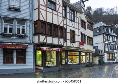 MONSCHAU, GERMANY - FEBRUARY 20, 2016: Half-timbered houses of Monschau, a small resort town in the Eifel region of western Germany